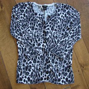 Ann Taylor Petite XS Animal Print Cardigan Sweater